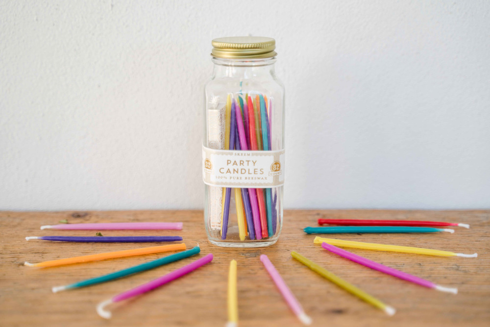 An organic take on the classic party candles! These multicolor beeswax candles come packed perfectly in a glass bottle, complete with matches inside so you are ready for the cake!
