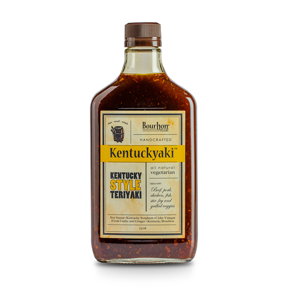 """Kentuckyaki Sauce by Bourbon Barrel Foods is a """"Kentucky-styled"""" teriyaki sauce, with a bit of Kentucky Bourbon added for extra fun and flair! This all-natural sauce is sweetened with Kentucky-grown sorghum syrup and flavored with fresh garlic and ginger. Use as a marinade on salmon, beef, and chicken. Add to your favorite stir-fry vegetables!"""