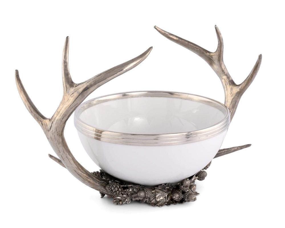Pewter Antler Rack Acorn Bowl