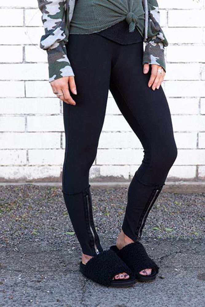 Tencel Fleece Zip Front Legging