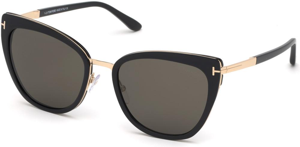 Tom Ford- Simona Sunglasses - Shiny Black with Rose Gold