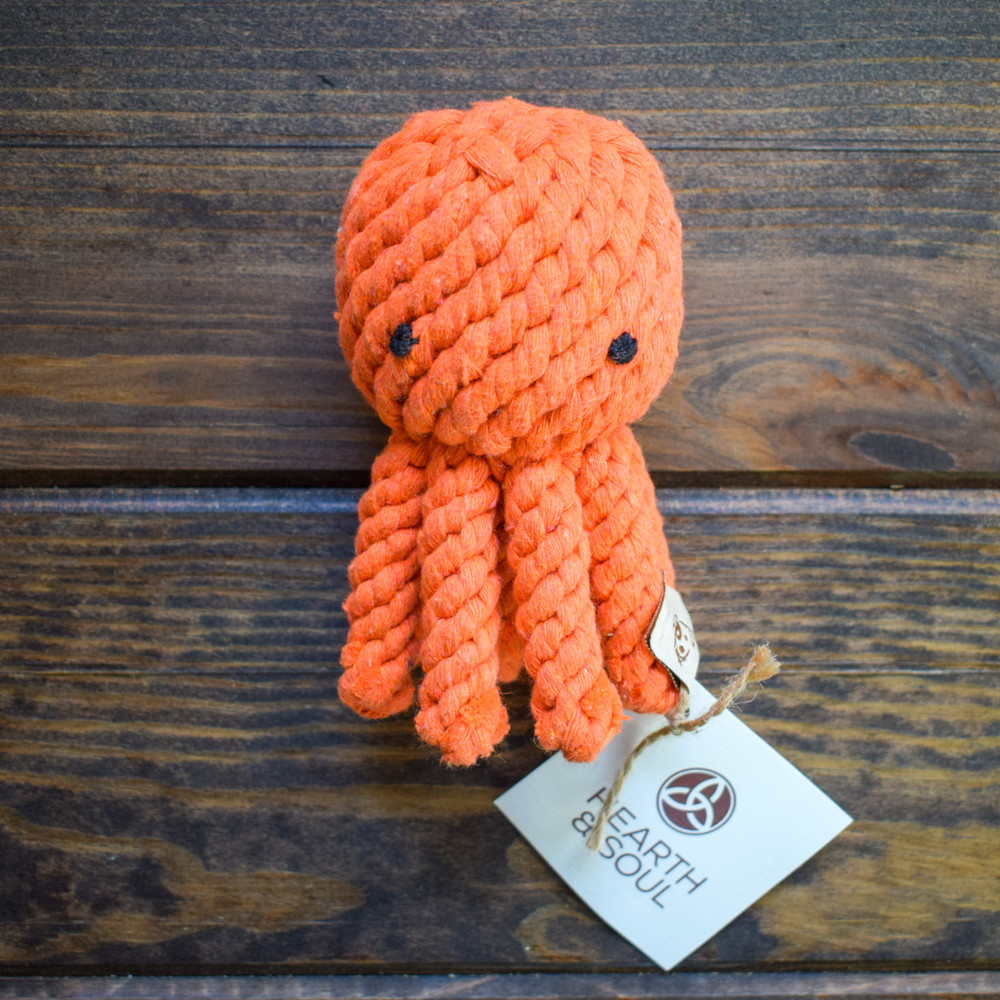 These rope dog toys are ready to be tugged, chewed, tossed, and loved. They are hand tied and dyes using non-toxic vegetable dyes and act as doggie dental floss as your pup begins chewing.   Machine washable
