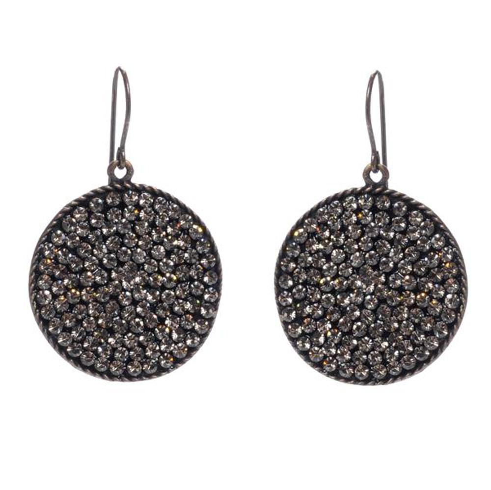 Crystal Round Disc Earrings - Black Diamond