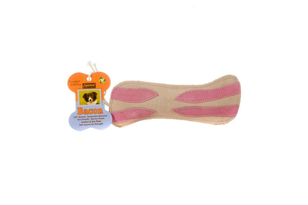 Brunchies Bacon is durable and made with natural leather, jute, and crunchy coconut fiber filling for long lasting play.