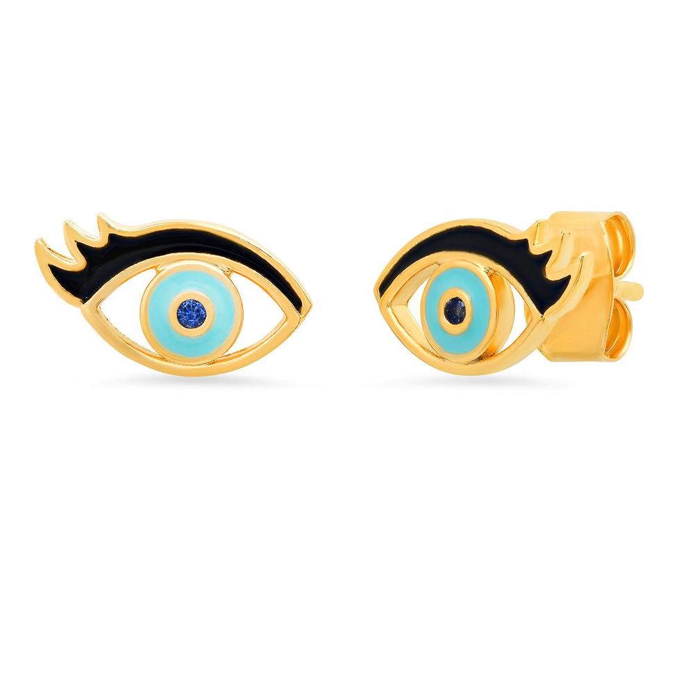 Enamel Eye with Lash Studs - Gold