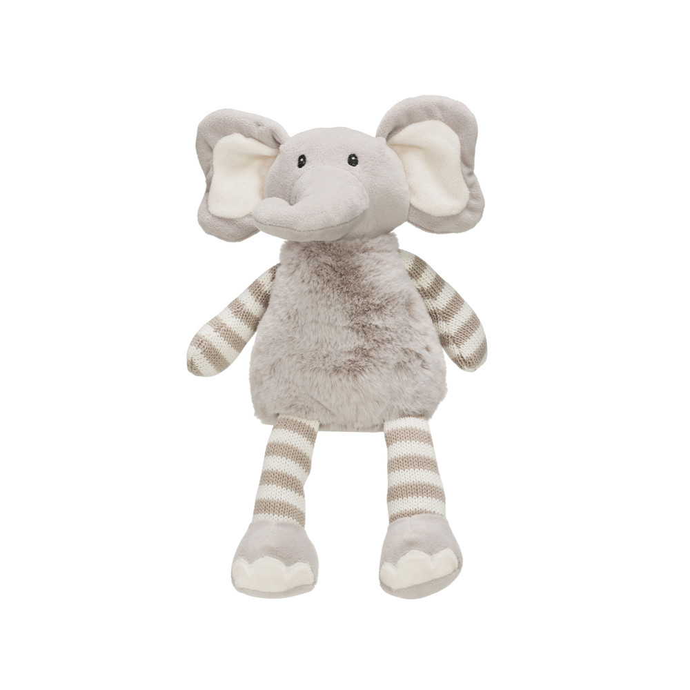 Plush Elephant - Grey & White Stripes