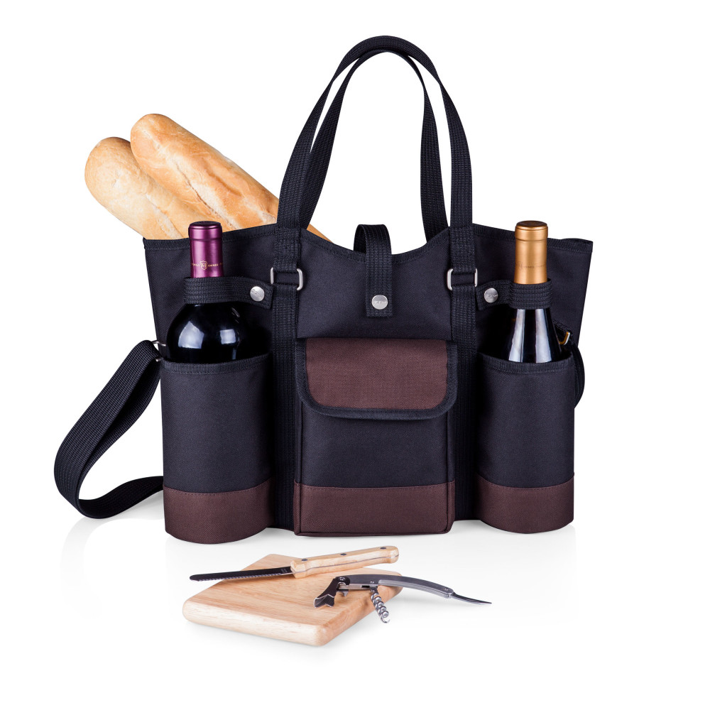 The perfect gift for a charcuterie and wine date - anytime, anywhere! This bag holds two bottles and includes all of your tools in one place.