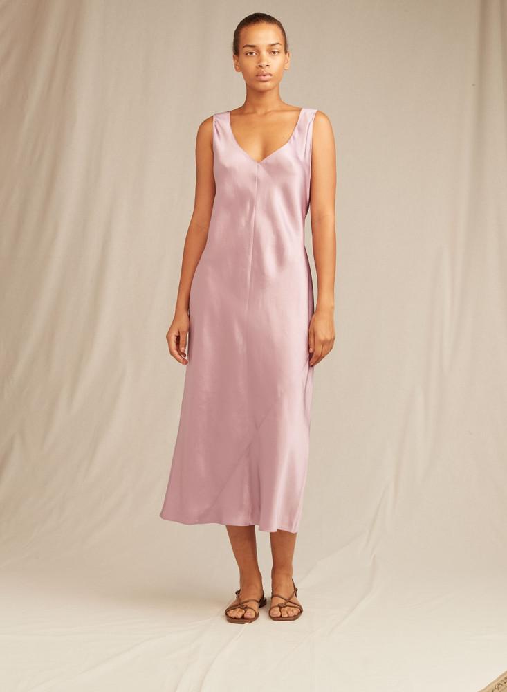 Double V-Neck Satin Slip Dress