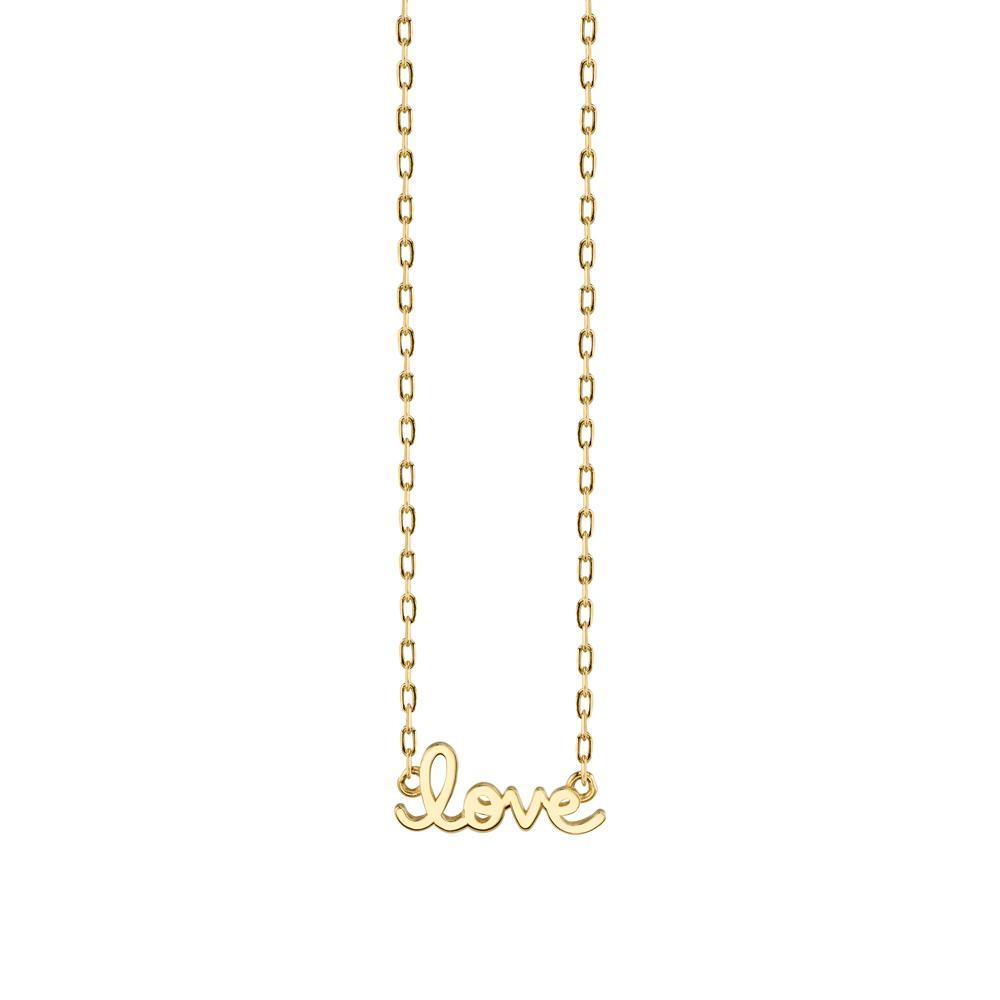 Gold Pure Love Script Necklace - Tiny