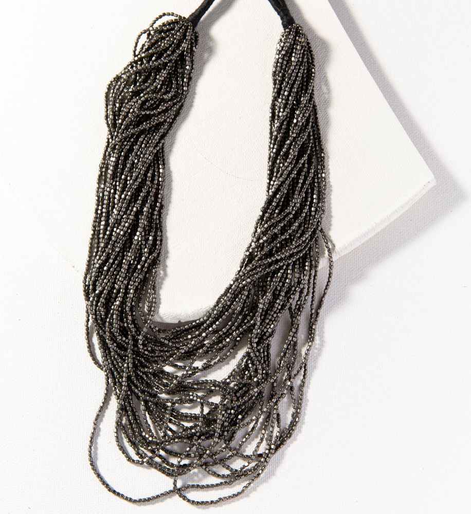 Multi Layer Seed Necklace - Gunmetal
