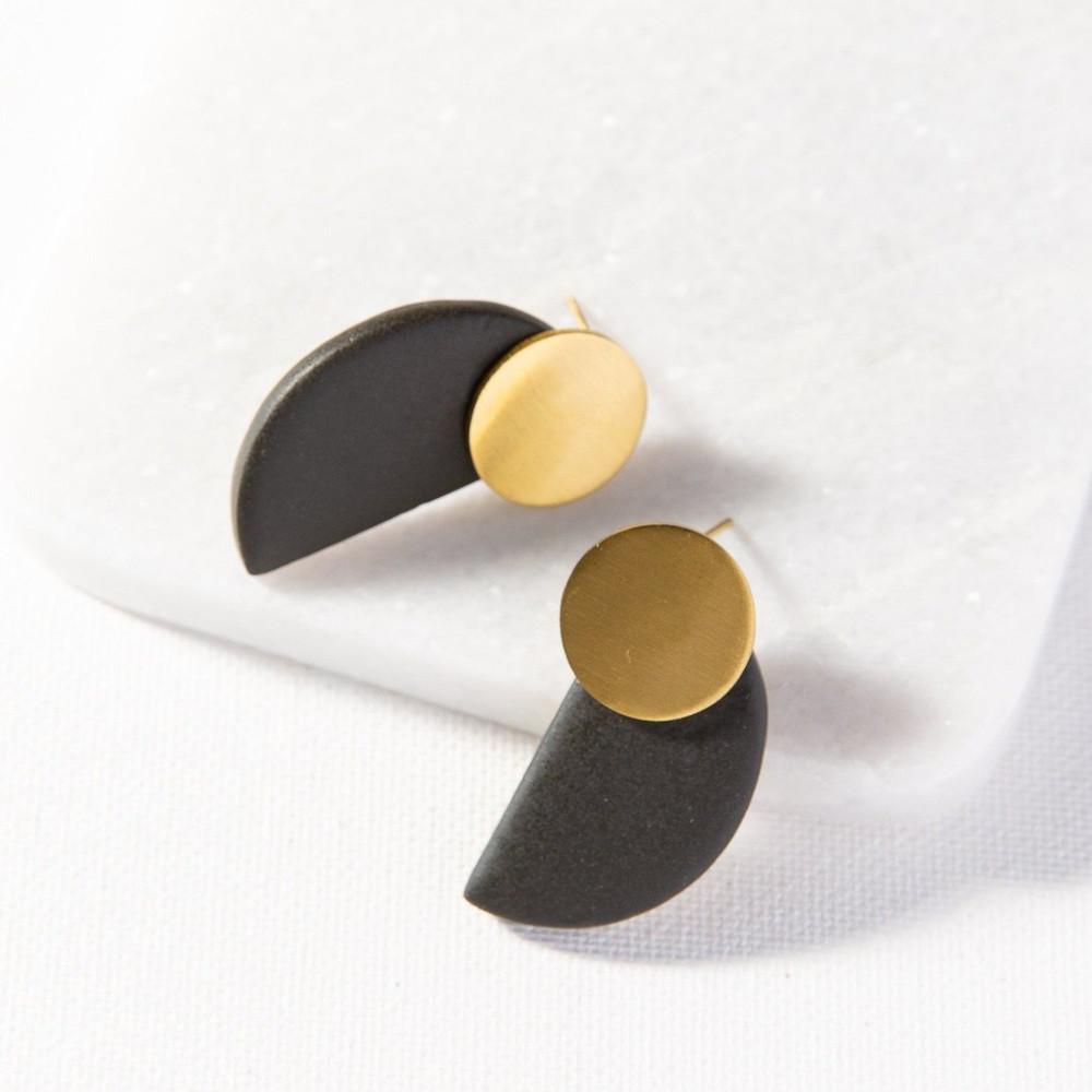 Ceramic Half Circle Post Earrings
