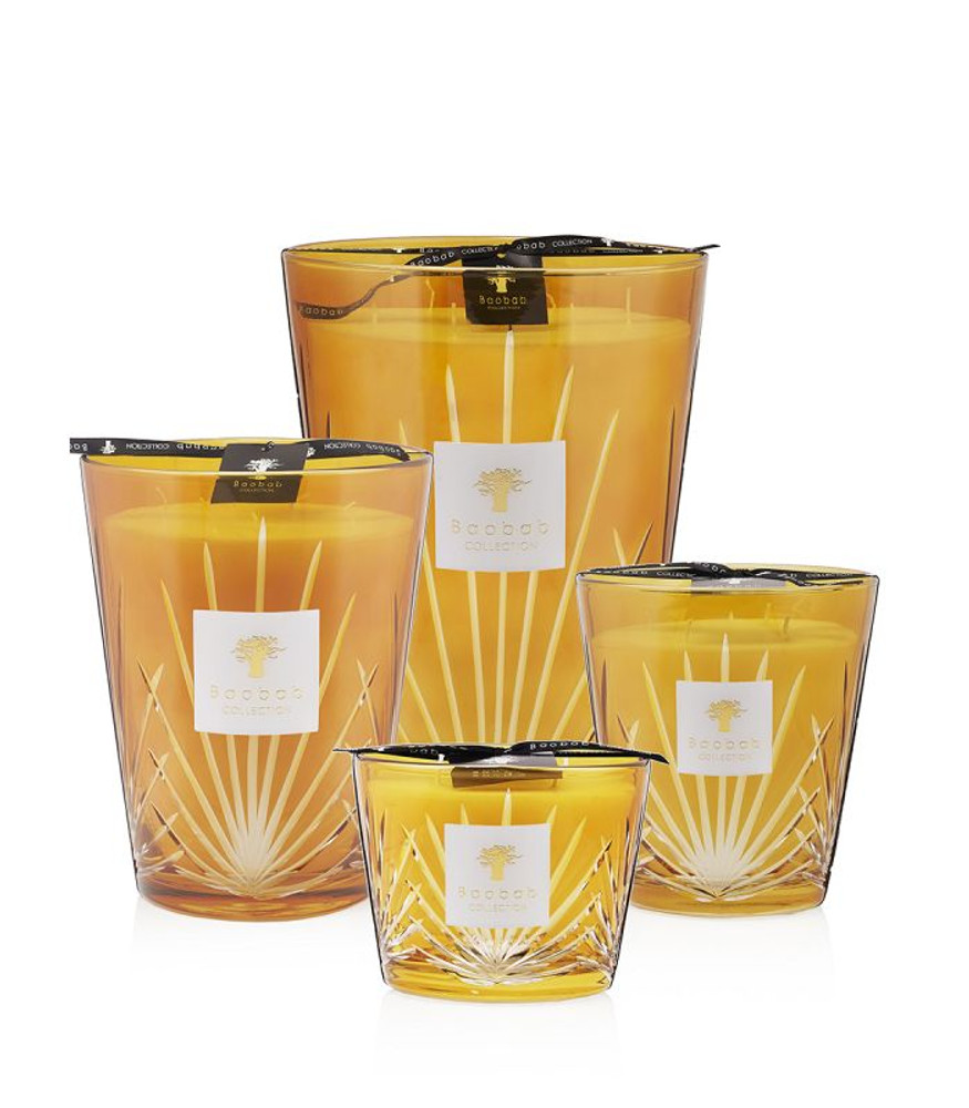 Reminiscent of the colors of the Mediterranean sun, this amber glass is hand-engraved with a palm leaf pattern.