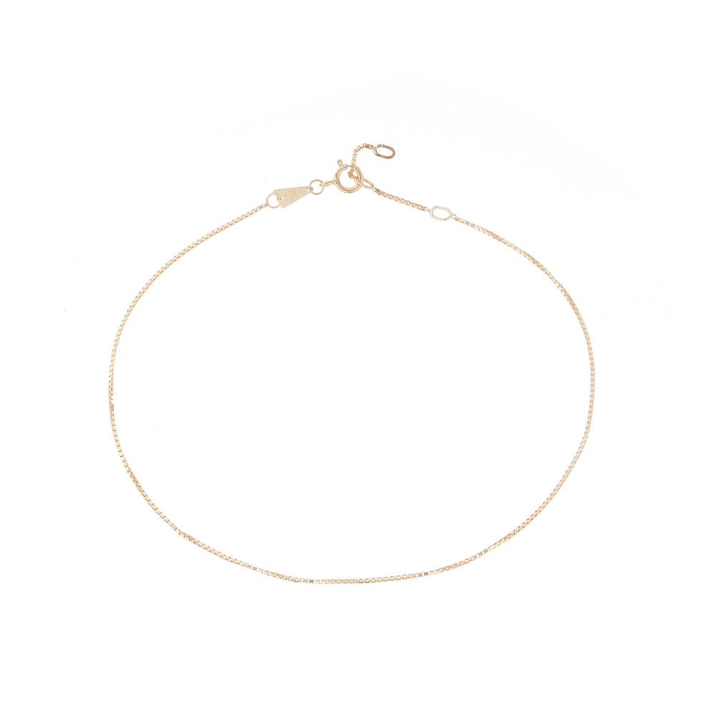 Finished Box Chain Anklet - 14k Yellow Gold