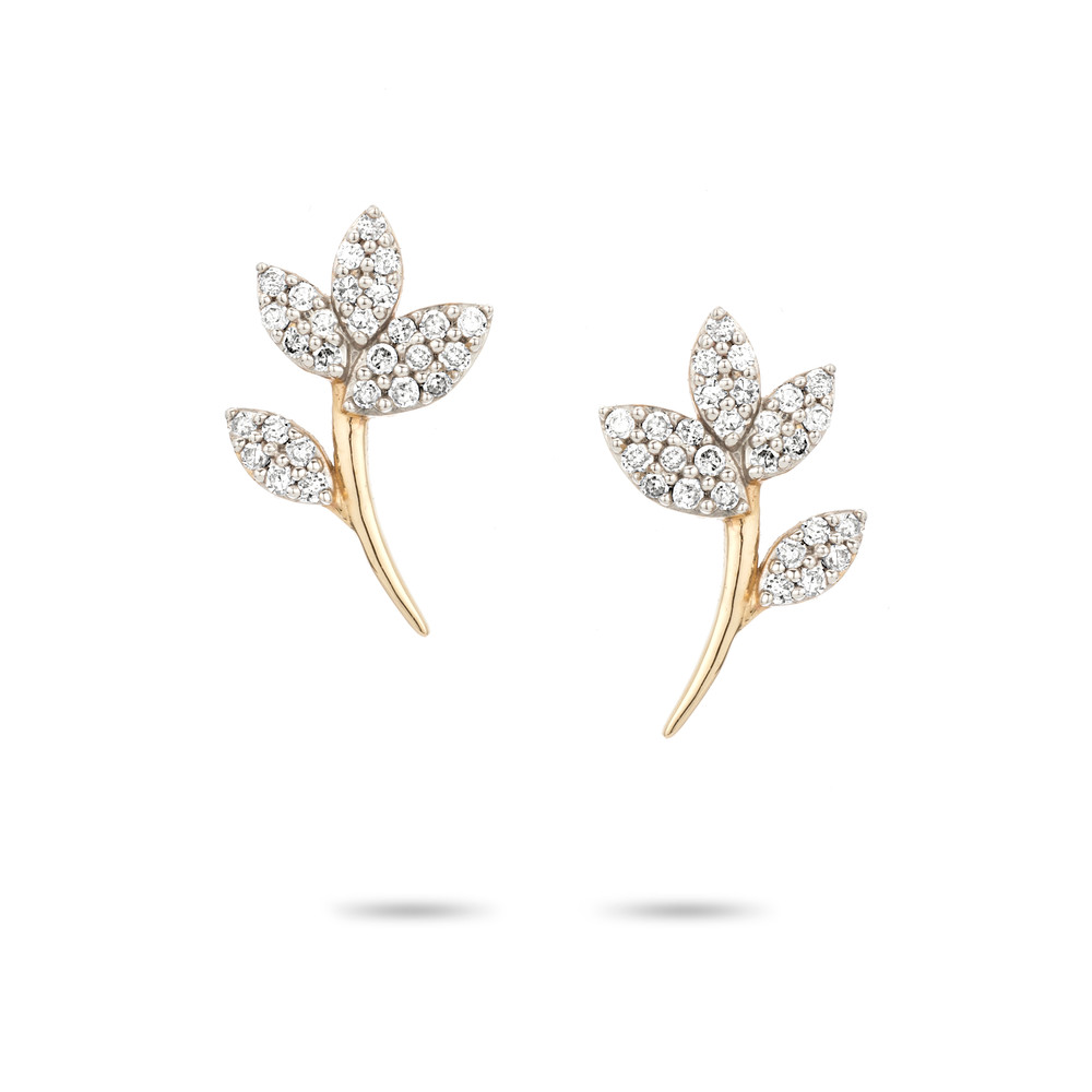 Garden Party Pave Flower Posts - 14k Yellow Gold