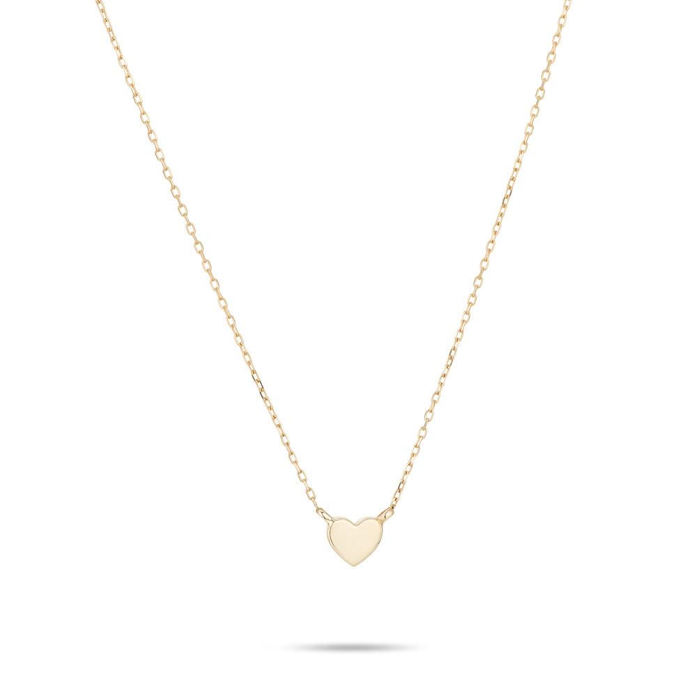 Puffy Heart Necklace - Super Tiny - 14k Yellow Gold