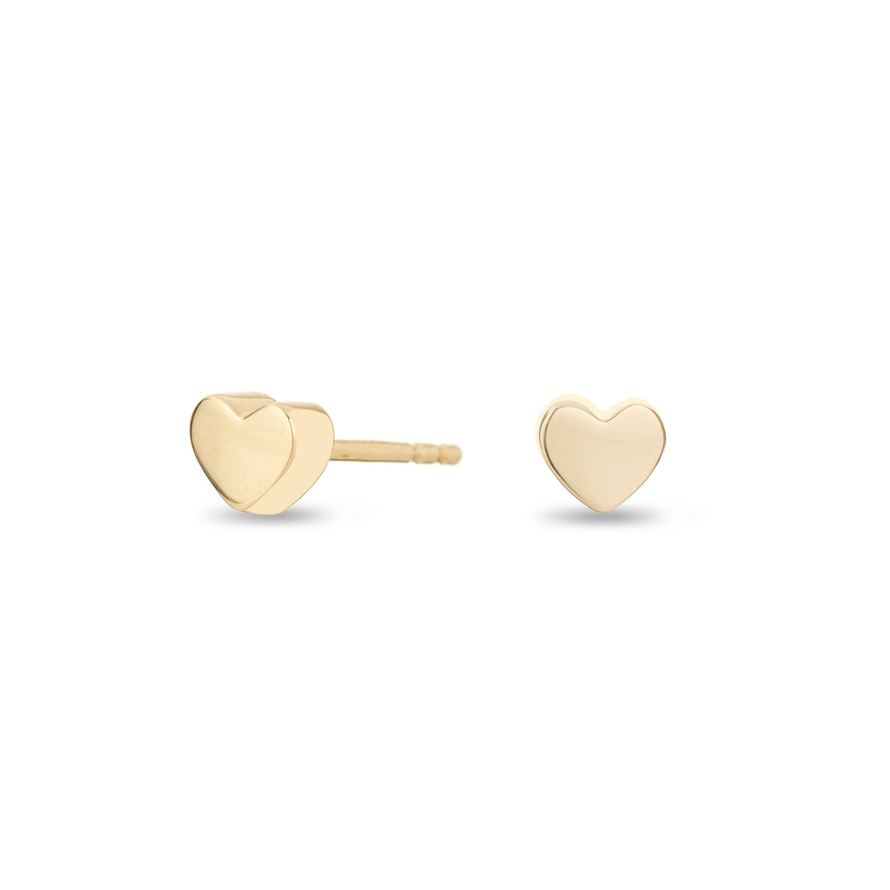 Puffy Heart Earrings - Super Tiny - 14k Yellow Gold