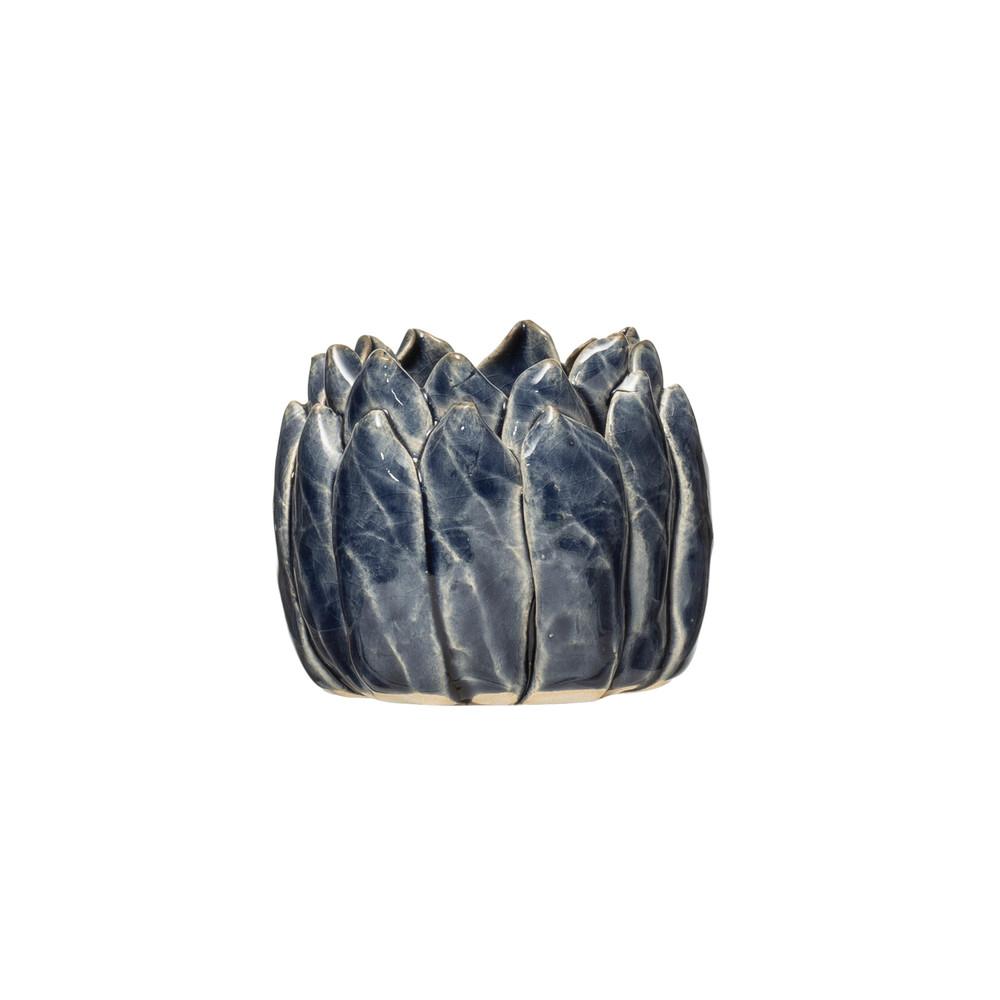 Round Flower Tea Light - Blue Reactive Glaze