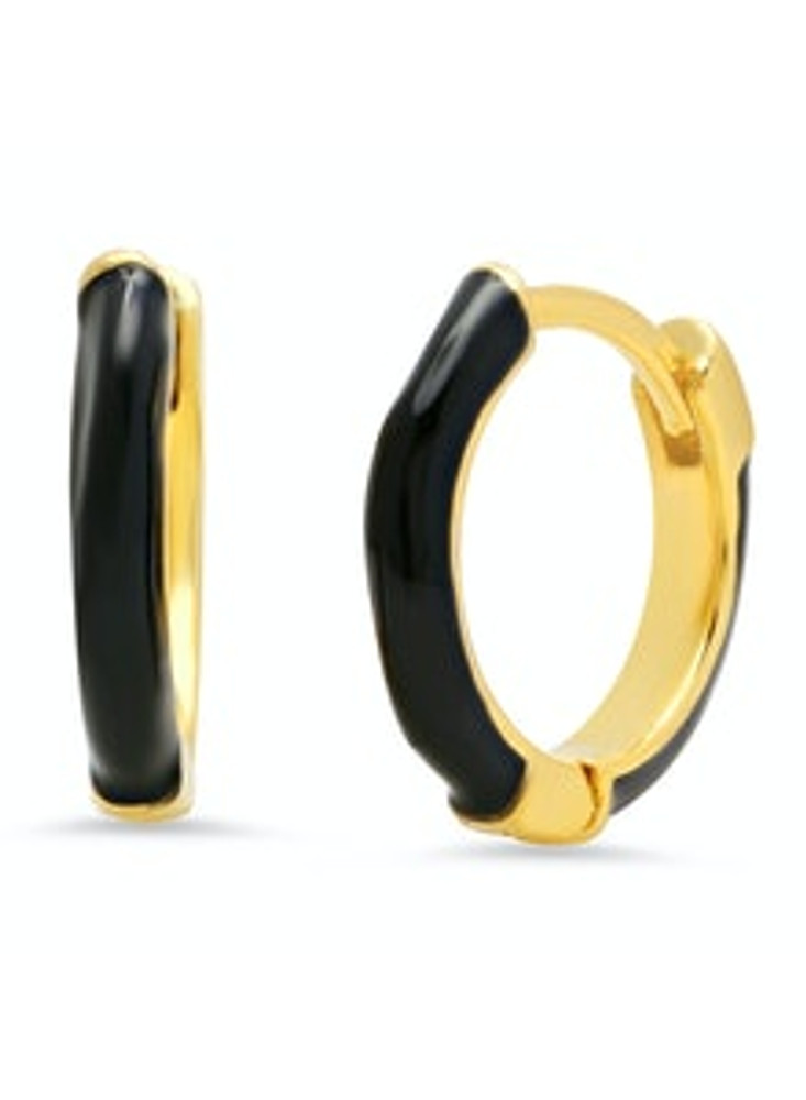 Gold and Enamel Hoop - Black