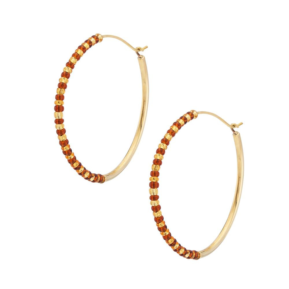 Shanga Maxi Hoop Earrings - Gold | Orange