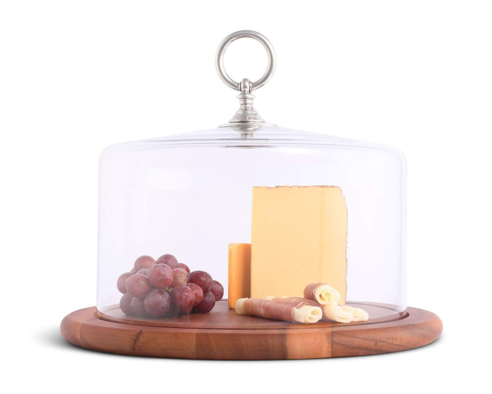 Cloche and Cheese Wood Board - Classic Pewter Ring