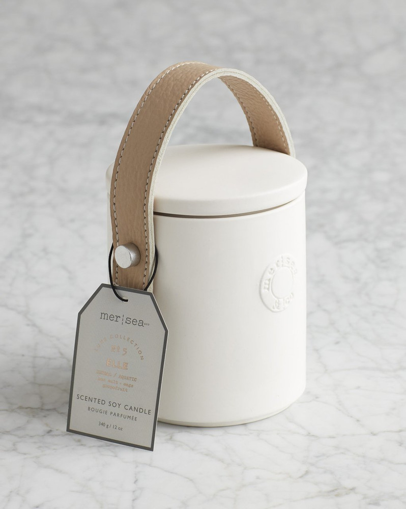 Luxe Candle with Leather Handle