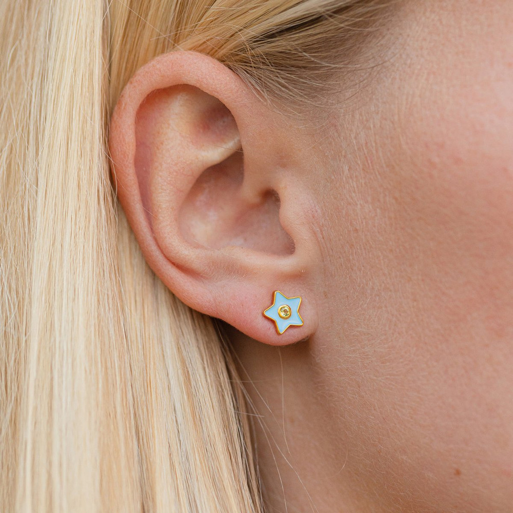 Enamel Stud Earrings - Star
