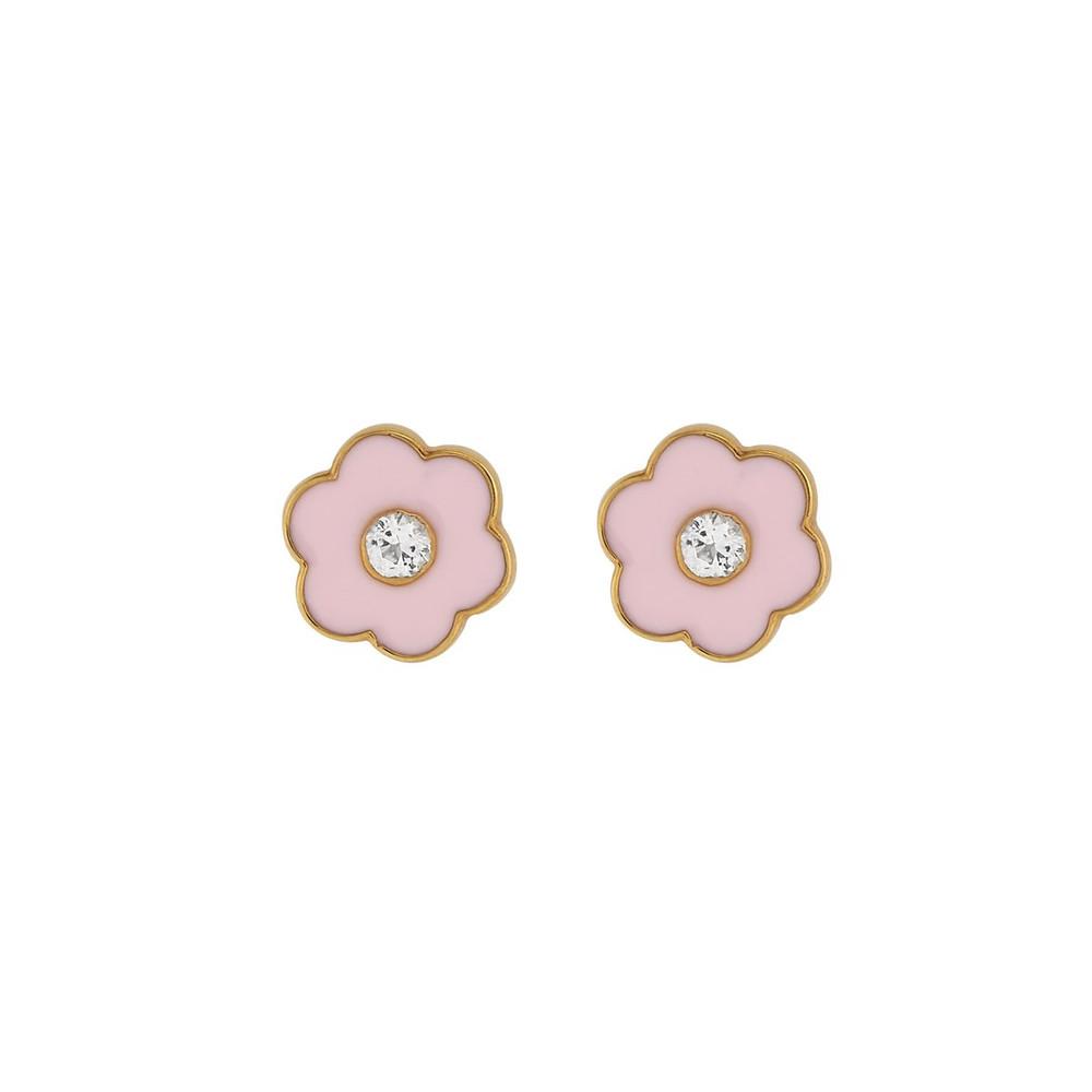 Enamel Stud Earrings - Flower