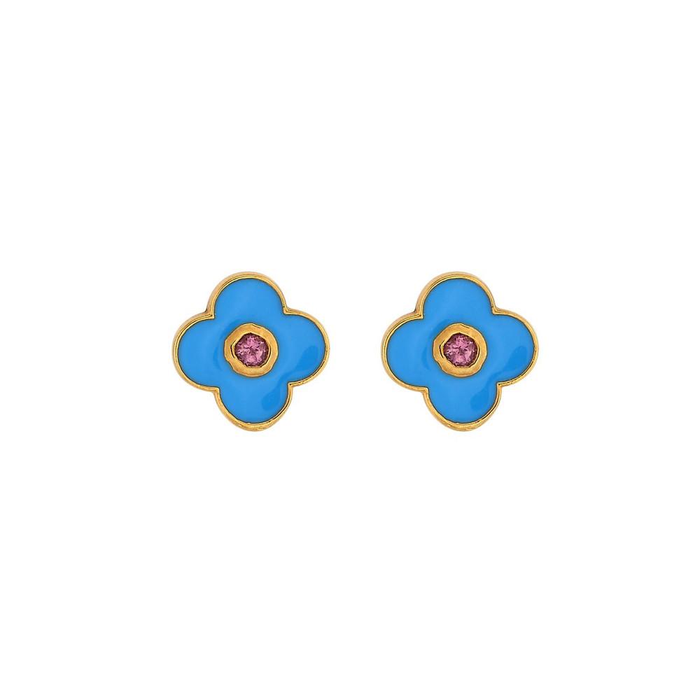 Enamel Stud Earrings - Clover