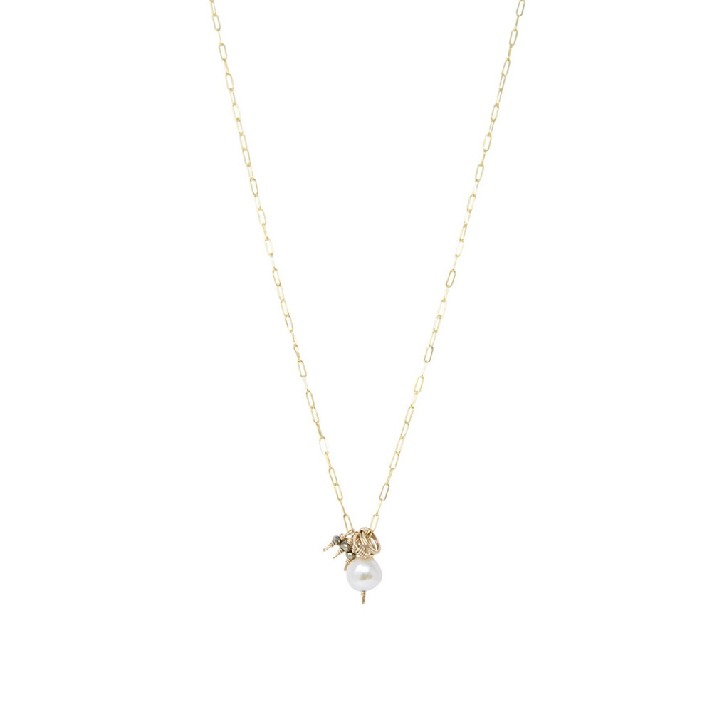 Lily Pearl and Charm Necklace