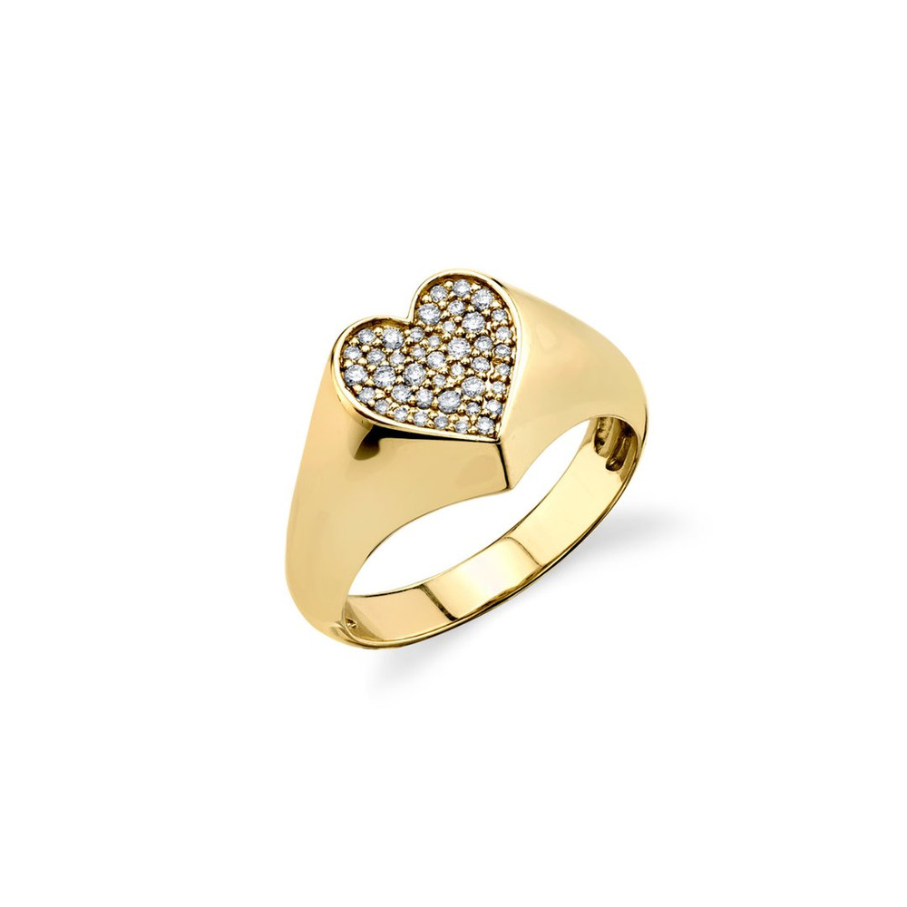 Pave Heart Signet Ring - Small