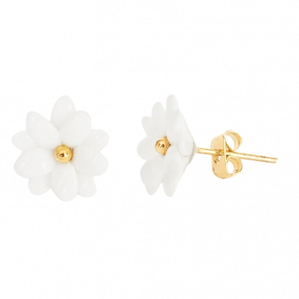Mini White Daisy Earrings