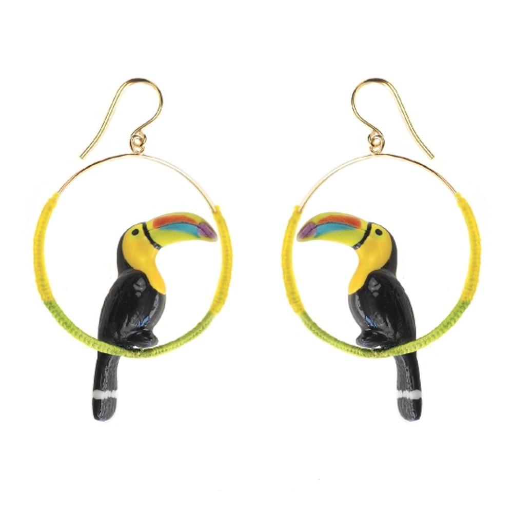 Green Toucan Colored Hoop Earrings