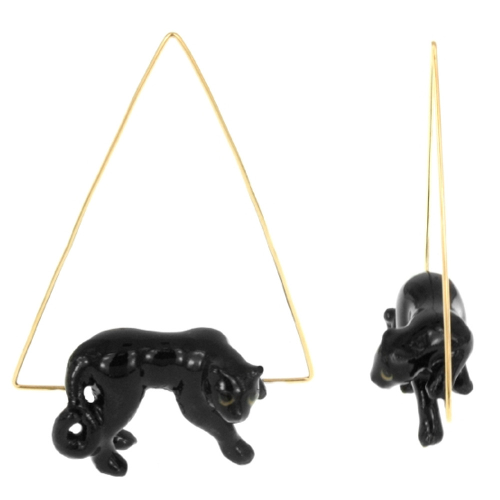 Sitting Black Panther Earrings