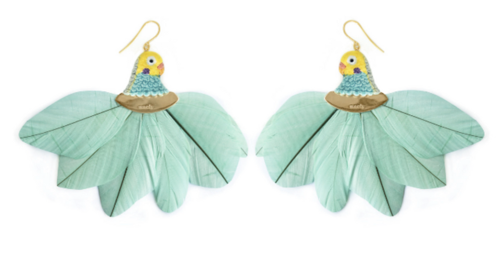 Feathers Earring - Blue Budgerigar