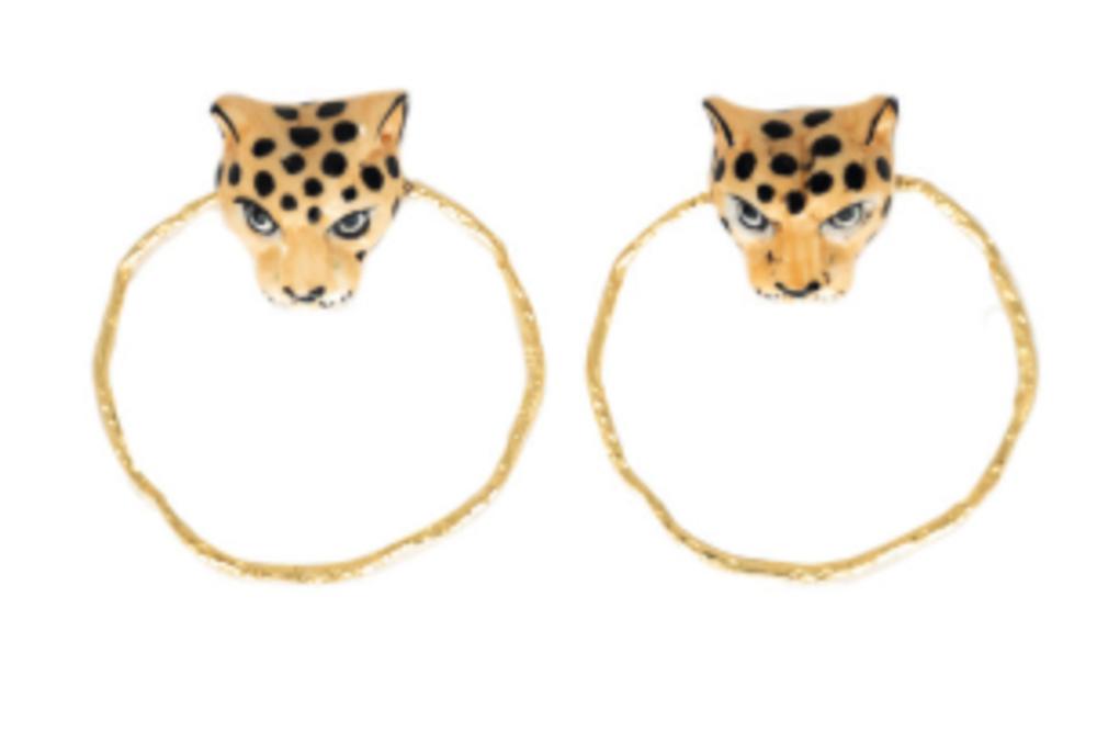 Round Earrings - Leopard