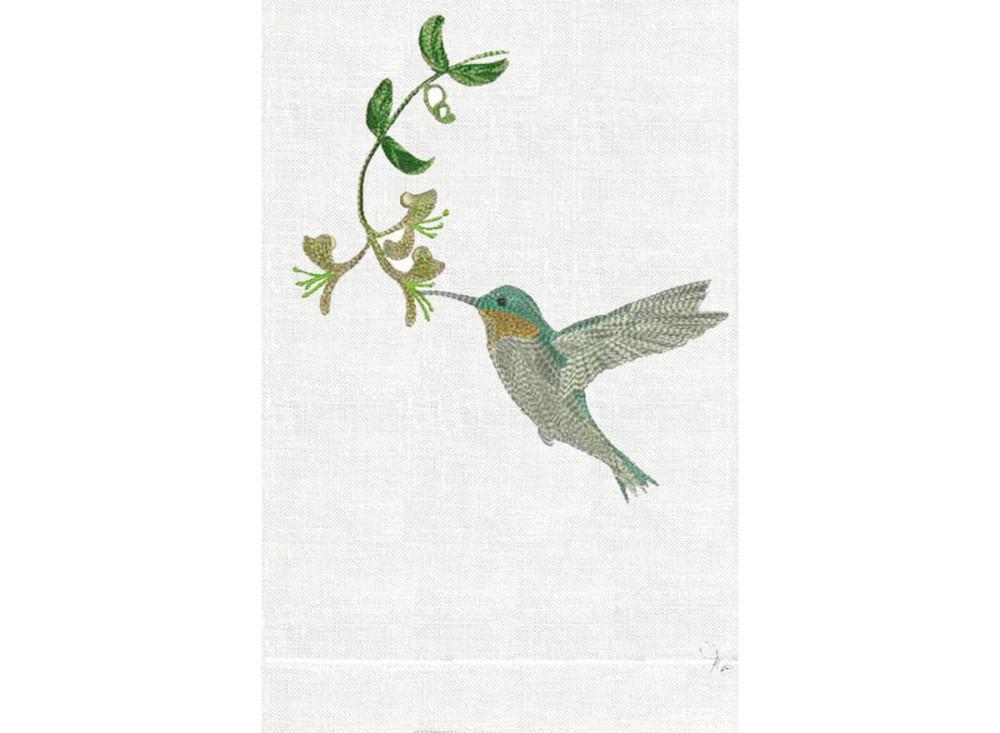 Hummingbird White Linen Guest Towel - Blue
