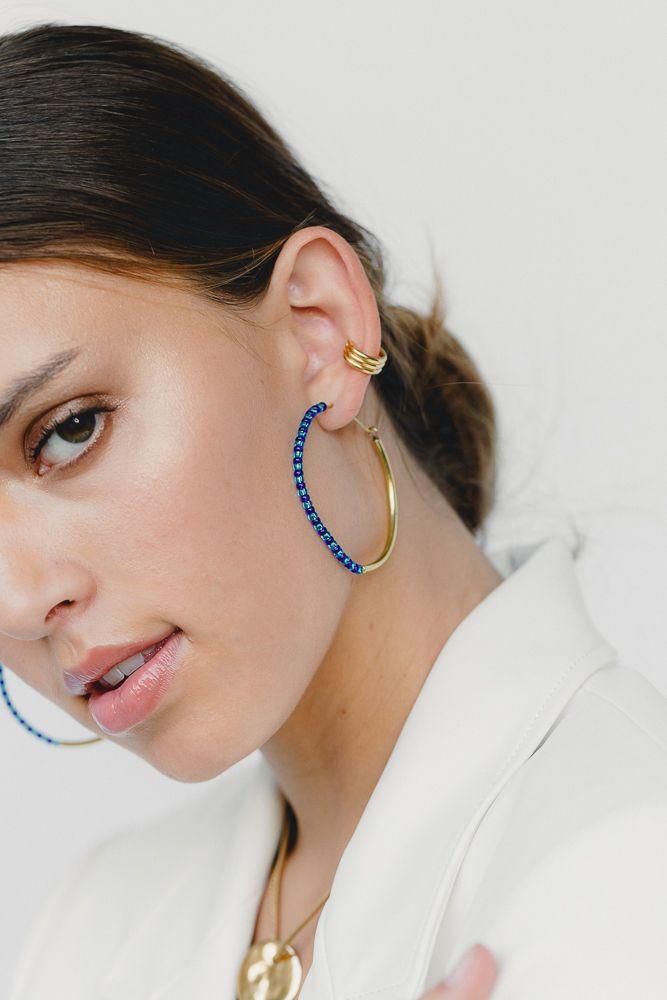 Shanga Maxi Hoop Earrings - Gold   Blue