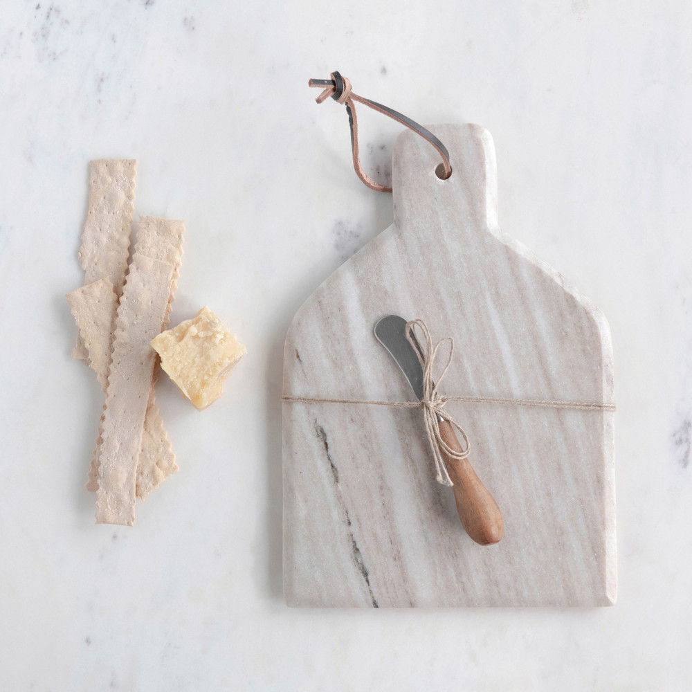 Marble Cheese Board with Canape Knife