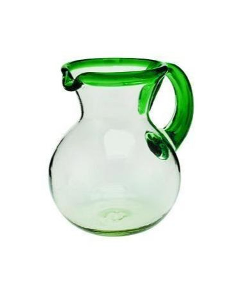 Recycled Glass Pitcher - Green Rim