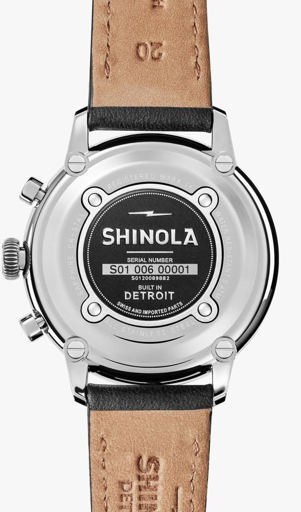 The Bedrock was Shinola's first dress watch, and it does not disappoint! All of the details Shinola is known for, refined to make a fine watch to take you from the boardroom to your weekend. The slim construction allows for a tailored dress sleeve to slide over the face, and the chronograph stopwatch sub-dials give it a little extra sport.