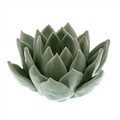 Pale Blue Our Succulent Tea Light Holders are true works of art. Each lovely, simple flower is hand-crafted; each petal is hand-formed. Then, each ceramic piece is given a hand-applied color glaze and a carefully crackled finish.