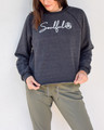 Soulful  Dress it up or dress it down this cozy sweatshirt has a touch of nostalgia with its subtly distressed and unfinished edges.