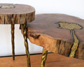 Shown (left to right) large side table, coffee table   A unique piece that blends well with all styles. This chamcha and poured brass table has has just enough depth, shine, and intrigue to bring your space together.