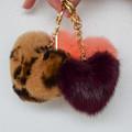 Rabbit Fur Heart Keychain