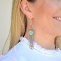 Green Calcite & Citrine Large Fringe Earring