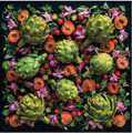 Artichoke Floral 500 Piece Puzzle features stunning image by famous foodie and photographer Sarah Phillips whose organization Ugly Produce is Beautiful is working hard to educate consumers and reduce massive food waste.  With these colorful green artichokes, ruby red tomatoes and purple flowers styled against a contrasting black background, it's easy to see how beautiful food is, even if it appears imperfect in the grocery store.