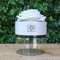 "White   A perfect pick me up that will continue bringing joy for up to a year. These  roses are preserved in a round white box, with acrylic top and offer lasting perfume and color. Treated with environmental friendly & non toxic products, size appx. 4.72""."