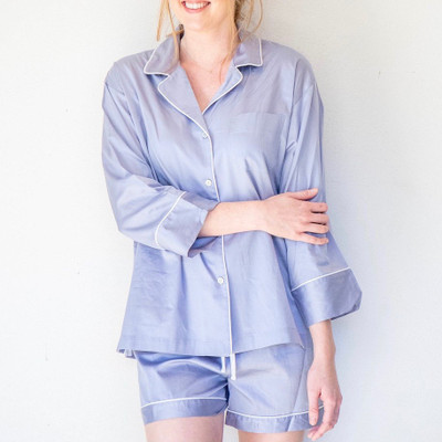Wind down in our comfy, cozy Smoky Iris Short PJ Set!