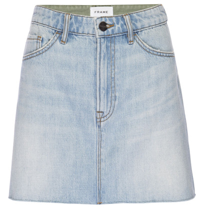 Canteburry - Cargo Mix  A straight cut mini skirt crafted from premium denim. Features a split front-frayed hem.