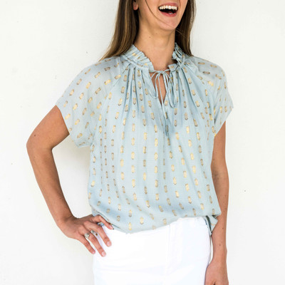 Light Blue  This versatile blouse is the perfect addition to your already chic wardrobe. Slip this elegant number on for a day at the office, then reverse it for a night out on the town!